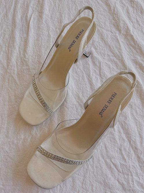 Vintage Rhinestone Clear Heels (6.5)