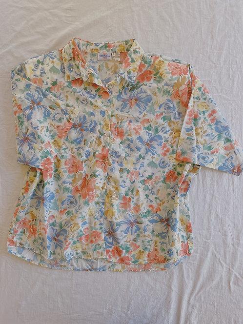 Vintage Light Floral Button-Up (XXL)