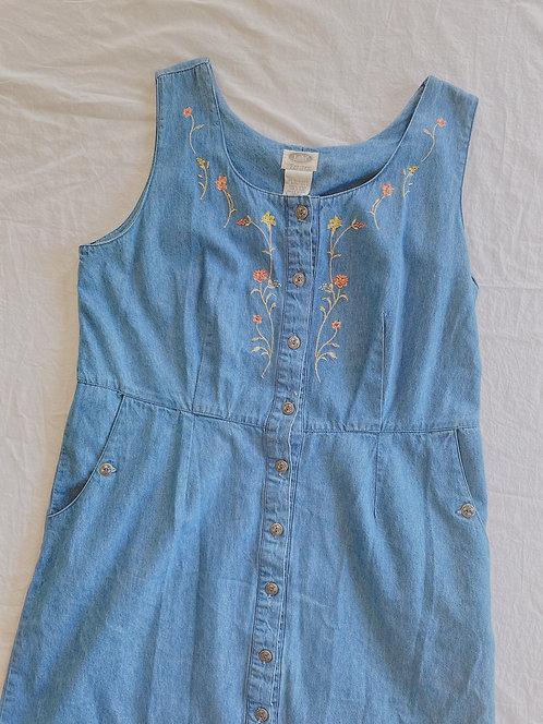 Vintage Jean Floral Teacher Dress (XL)