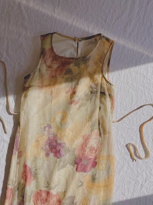 Vintage Green Rose Print Dress (S)