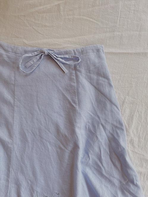 Vintage Linen Blue Skirt  (M)