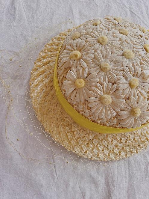 Vintage Wicker Daisy Hat