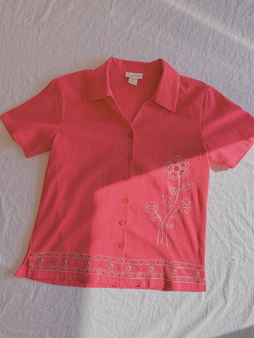 Vintage Hot Pink Flower Button-Up (M)