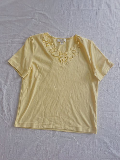 Vintage Spring Yellow Lace Top (S)