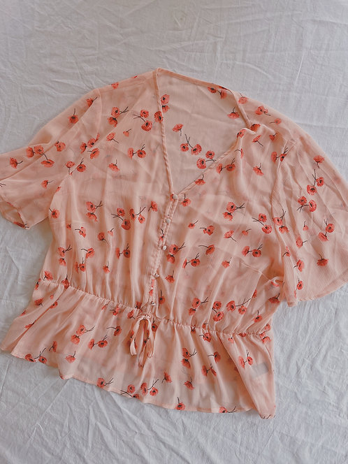 Modern Sheer Poppy Blouse (XL)