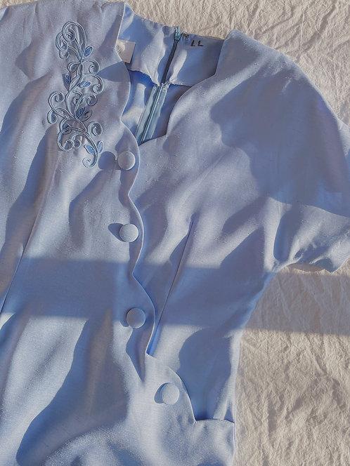 Vintage Blue Button Dress (M/L)