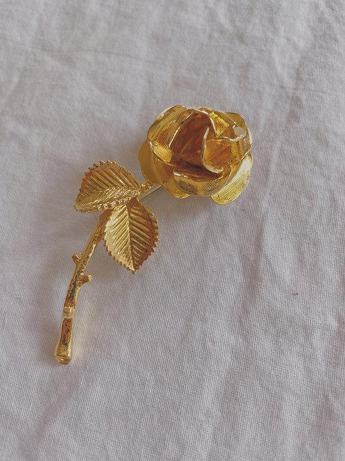 Vintage Gold Rose Brooch