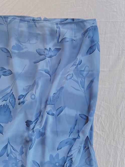 Vintage Blue Floral Skirt (L/XL)