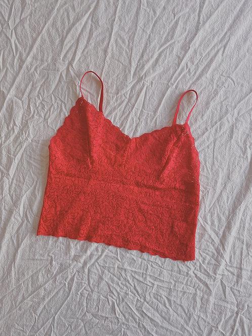 Modern Red Lace Crop (M)