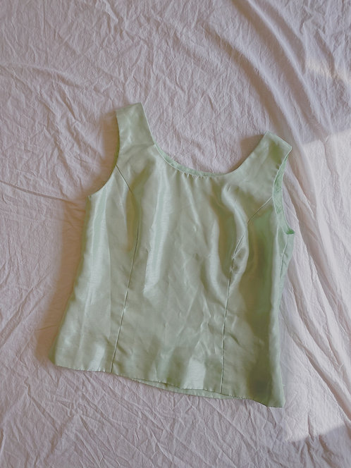 Vintage Green Satin Top (M)