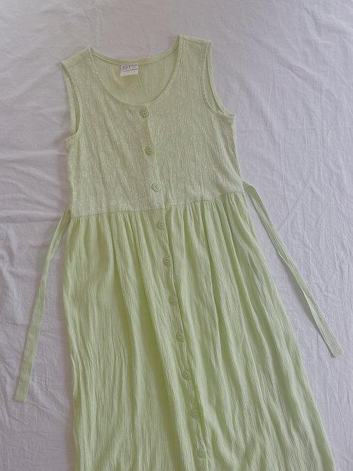 Vintage Spring Green Button Dress (S)