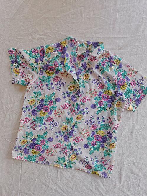 80's Floral Button Up (M)
