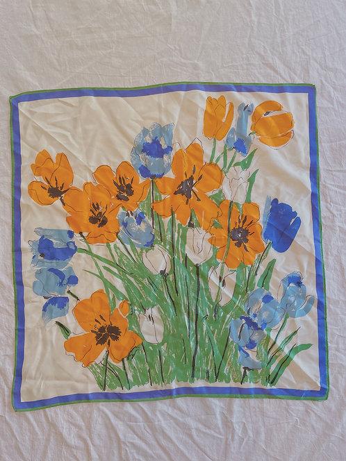 Vintage Orange Floral Scarf