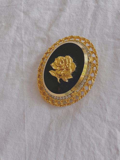 Vintage Black & Gold Brooch/Pendant