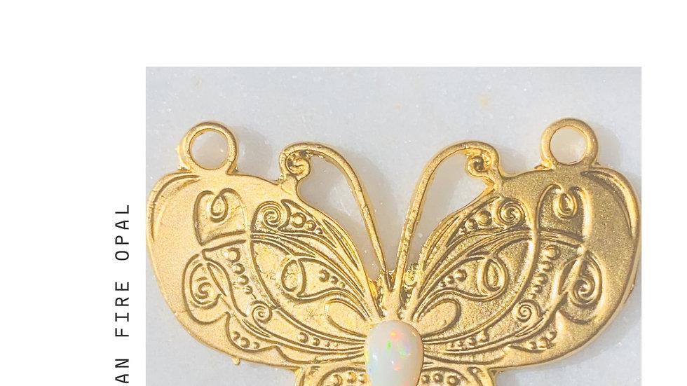Ethiopian Opal Butterfly Necklace