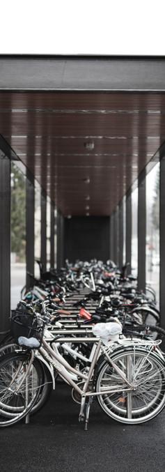 Katoksen alla oleva pyöräparkki, jossa paljon polkupyöriä.