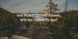 God makes himself known, will we choose to see