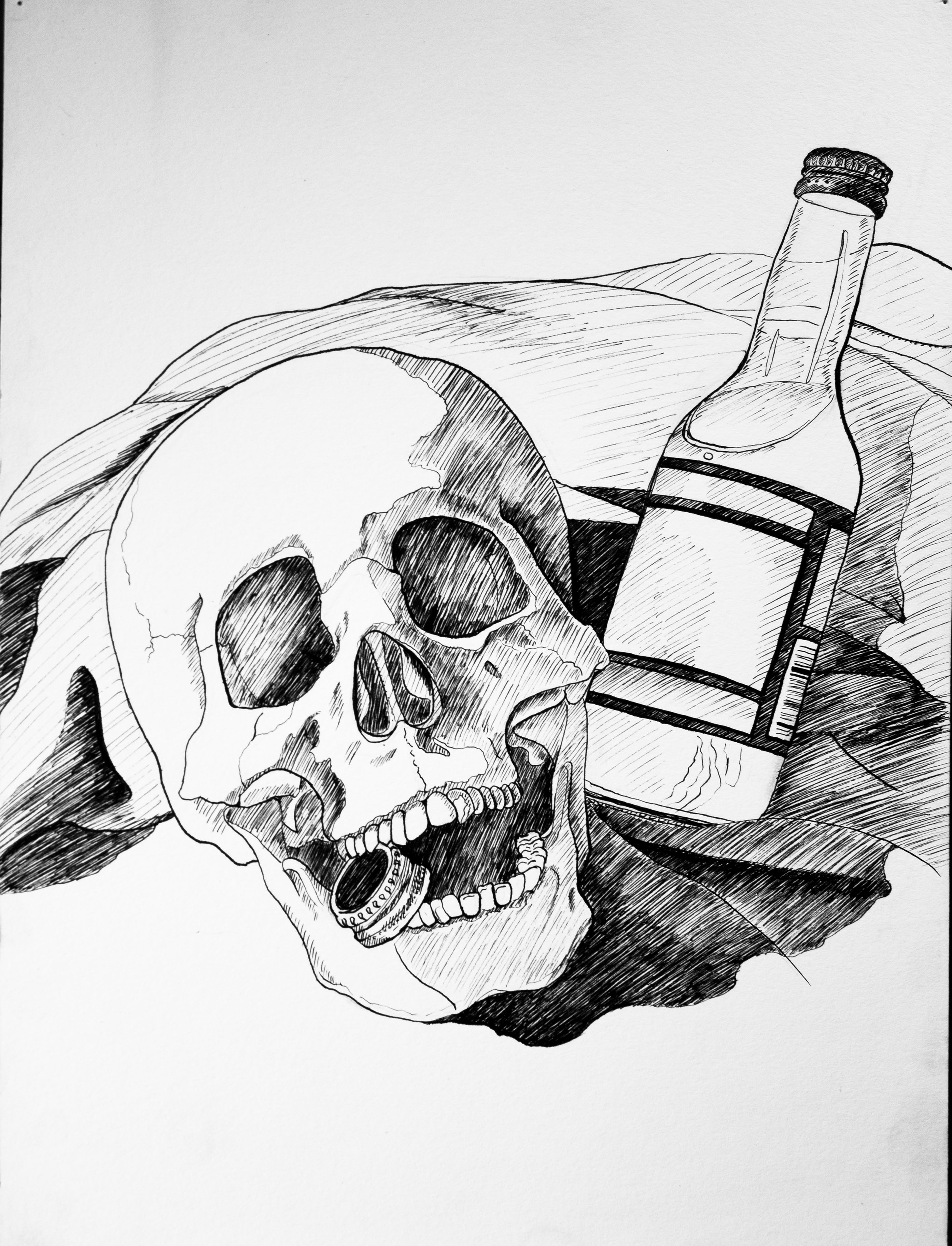 2014 . Skull and Bottle Still Life