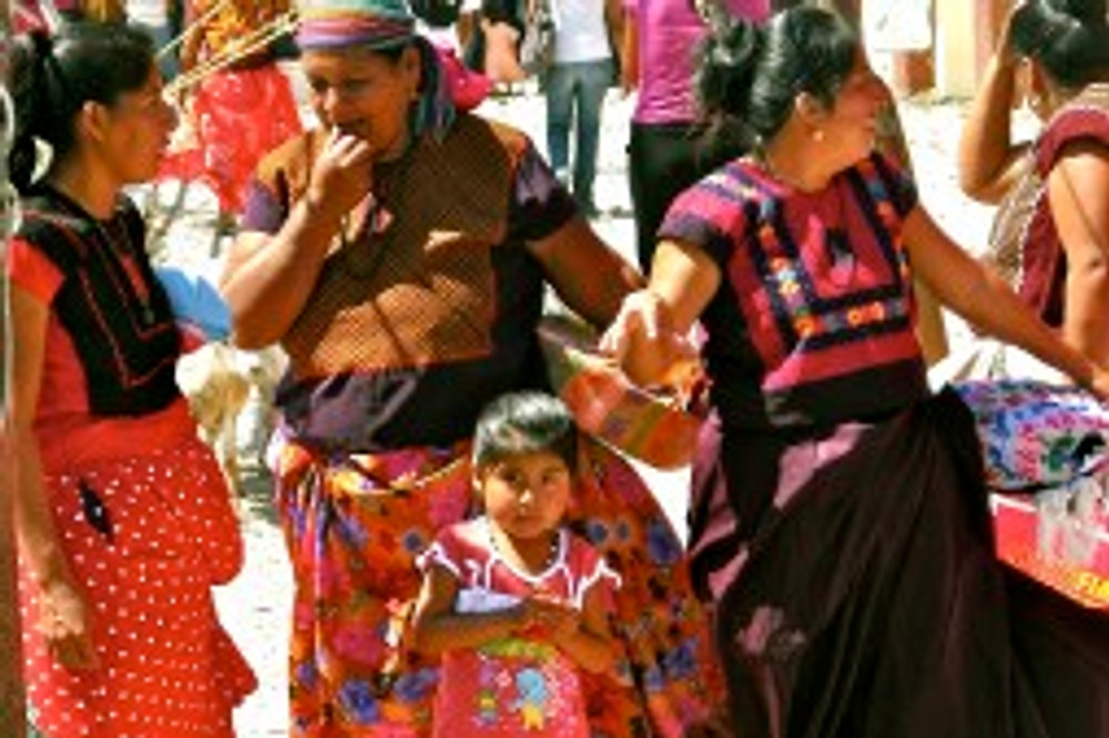 Huave indigenous women at market. San Mateo del Mar, Oaxaca. (photo by Mike Hadinger)