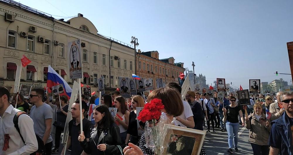 ה-9 במאי, מצעד גדודי אלמוות, מצעד הווטרנים במוסקבה