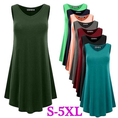 Women's Loose Sexy Sleeveless V-neck Solid Vest T-shirt Dress