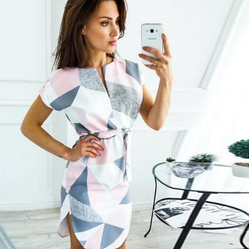 Short Sleeve Casual Color Patchwork Knee Length Dress