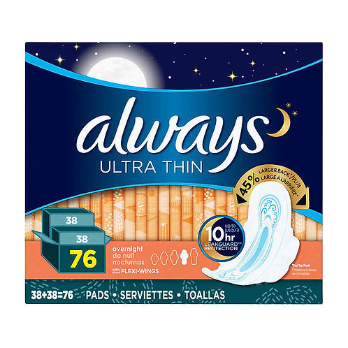 Always Ultra Thin Overnight Pads 2 packs of 38