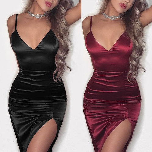 Fashion Women Sleeveless Satin Bodycon Cocktail Clubwear Deep V-neck