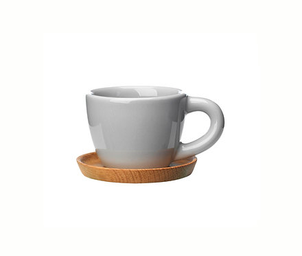 Комплект: Чашка для эспрессо серая, 0,1л. с деревянным блюдцем!