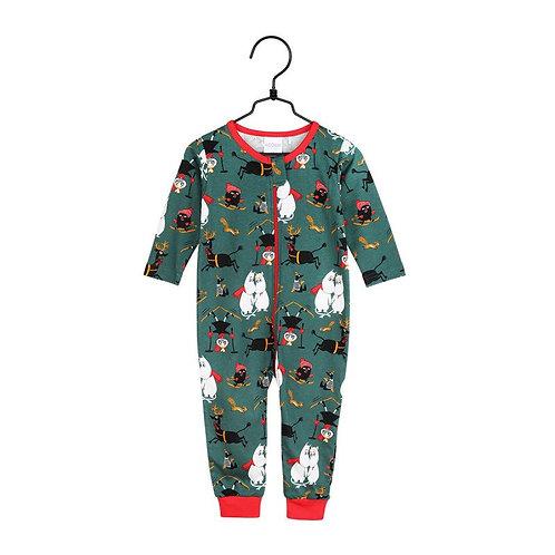 Moomin Пижама Зимние безумства, зеленая, детская