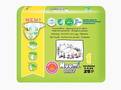 Muumi 1, подгузники для новорожденных 2–5 кг, 25 шт.