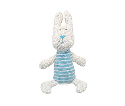 ЗаяцBunny, голубой, вязанная игрушка,33 cm.