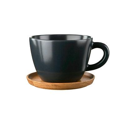 Комплект: Чайная кружка черная0,5 л., с деревянным блюдцем!