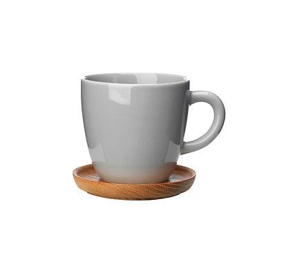 Комплект: Чашка для кофе серая, 0,33 л. с деревянным блюдцем!
