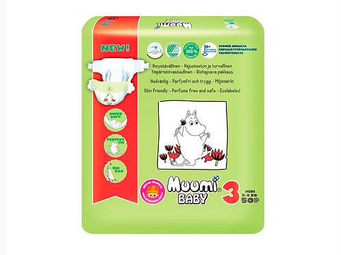 Muumi 3, Муми-Подгузники для детей Midi (средние) 5-8 кг., 50 шт.