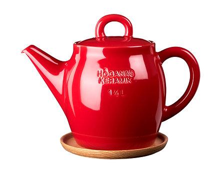 Чайник Красный 1 ½ L сдеревянной подставкой!