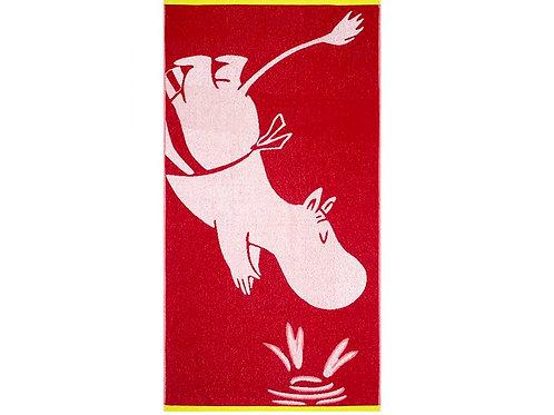 Красное банное полотенце Mуми-мама 70 x 140 см.