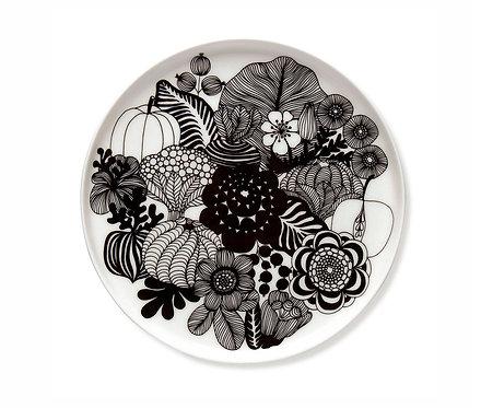 Сервировочная тарелка Marimekko Siirtolapuutarha Black / White