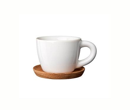 Комплект: Чашка для эспрессо белая, 0,1 л. с деревянным блюдцем!