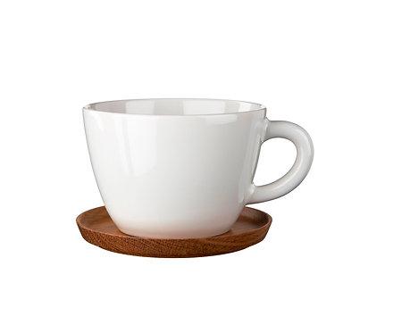 Чайная кружка Белая 0,5 л., с деревянным блюдцем