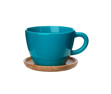 Комплект: Чайная кружка цвет морской волны0,5 л., с деревянным блюдцем!