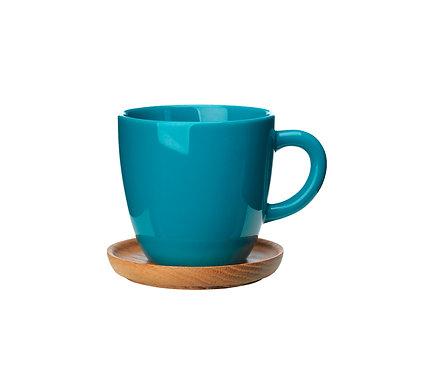 Комплект: Чашка для кофецвет морской волны, 0,33 л. с деревянным блюдцем!