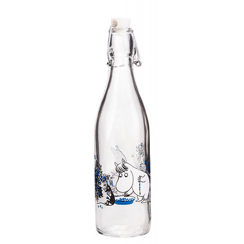 Moomin- стеклянная бутылка спробкой 0,5 л.  Черника