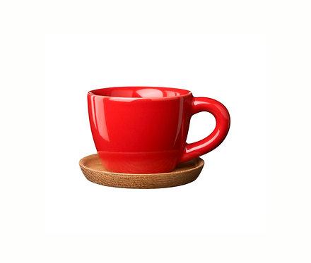 Комплект: Чашка для эспрессо красная, 0,1 л. с деревянным блюдцем!