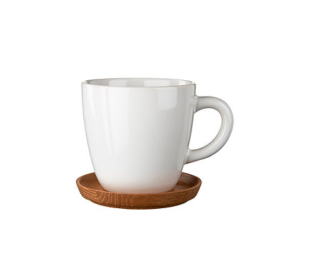 Комплект: Чашка для кофе белая, 0,33 л. с деревянным блюдцем!