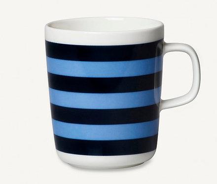 Кружка Marimekko Oiva/Tasaraita, белое/черное,голубое о,25 л.