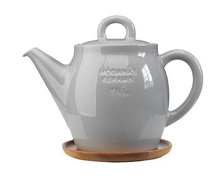 Чайник Серый 1 ½ L с деревянной подставкой!