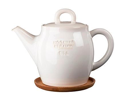 Чайник Белый 1 ½ L с деревянной подставкой!