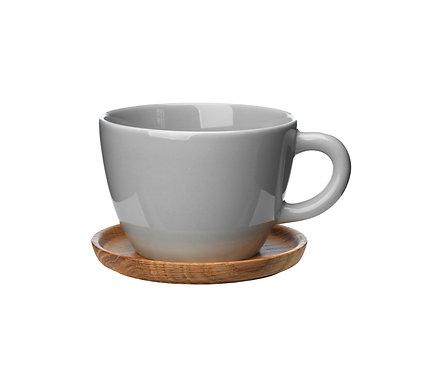 Комплект: Чайная кружка серая0,5 л., с деревянным блюдцем!