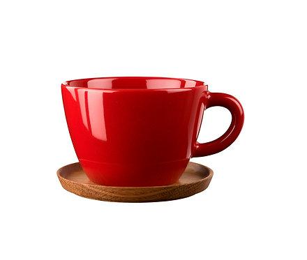 Комплект: Чайная кружка красная0,5 л., с деревянным блюдцем!